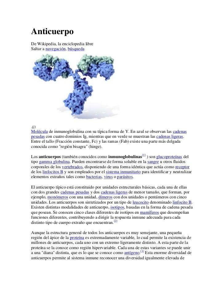 Anticuerpo<br />De Wikipedia, la enciclopedia libre<br />Saltar a navegación, búsqueda <br />Molécula de inmunoglobulina c...
