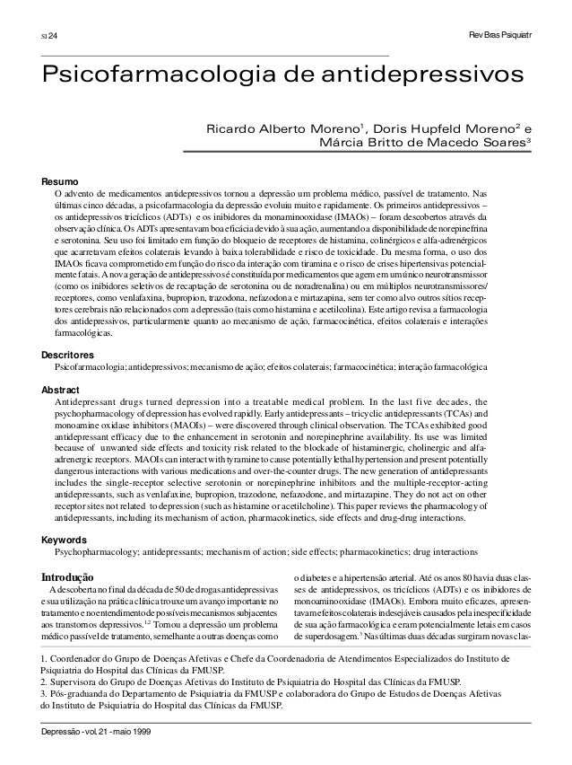Depressão-vol.21-maio1999 SI 24 Introdução Adescobertanofinaldadécadade50dedrogasantidepressivas e sua utilização na práti...
