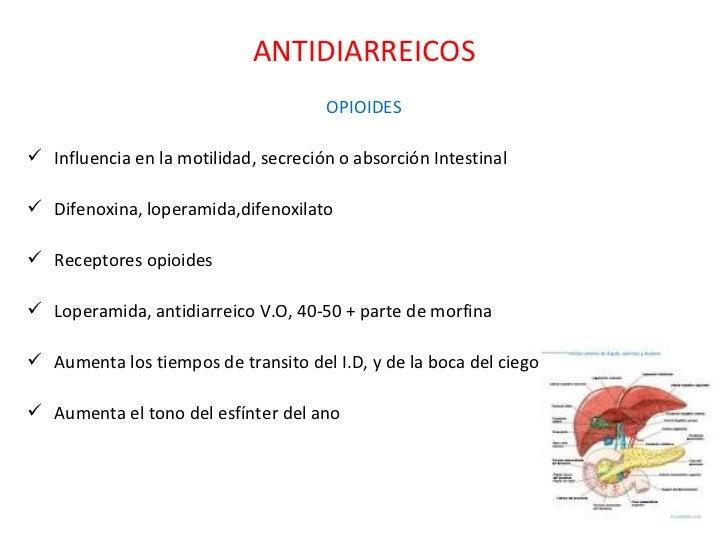 ANTIDIARREICOS <ul><li>OPIOIDES </li></ul><ul><li>Influencia en la motilidad, secreción o absorción Intestinal </li></ul><...