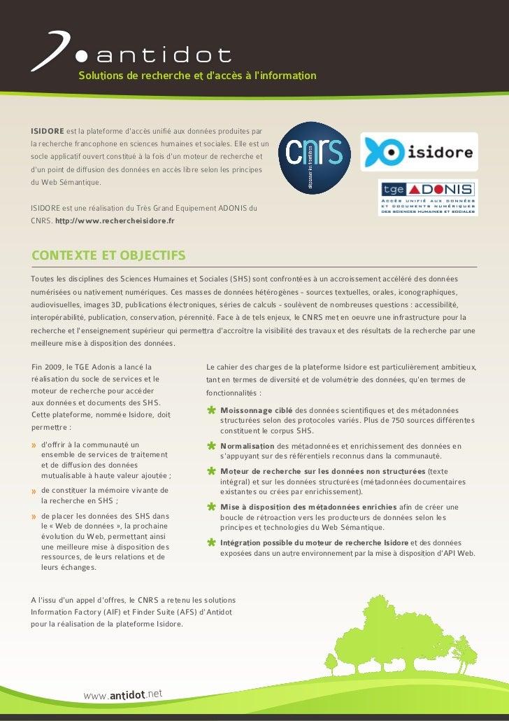 Solutions de recherche et daccès à linformationISIDORE est la plateforme daccès unifié aux données produites parla recherc...