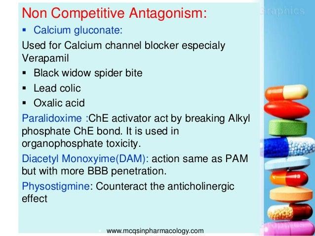 Non Competitive Antagonism:  Calcium gluconate: Used for Calcium channel blocker especialy Verapamil  Black widow spider...