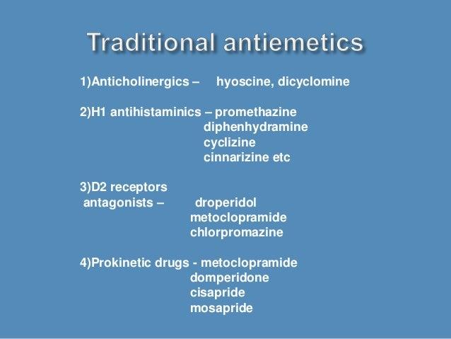1)Anticholinergics – hyoscine, dicyclomine 2)H1 antihistaminics – promethazine diphenhydramine cyclizine cinnarizine etc 3...