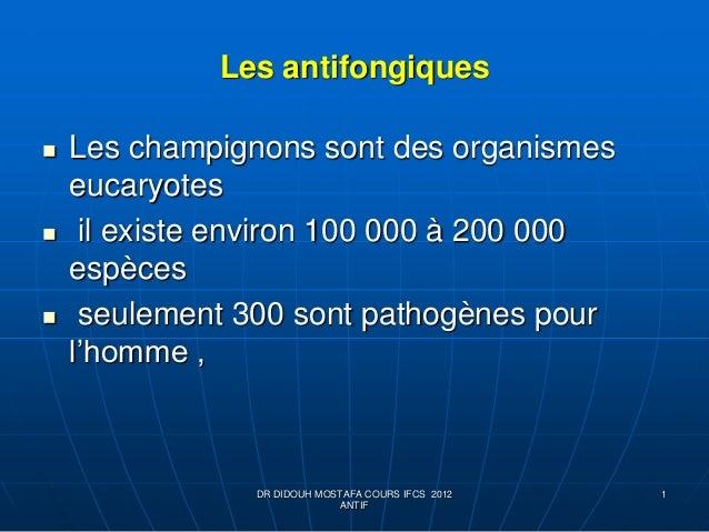 Les antifongiques  Les champignons sont des organismes eucaryotes  il existe environ 100 000 à 200 000 espèces  seuleme...