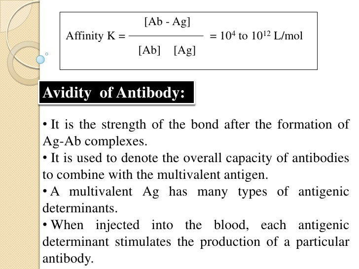 The various antibodies produced by a single Agcombine with the different antigenic determinants ofthe Ag.                 ...