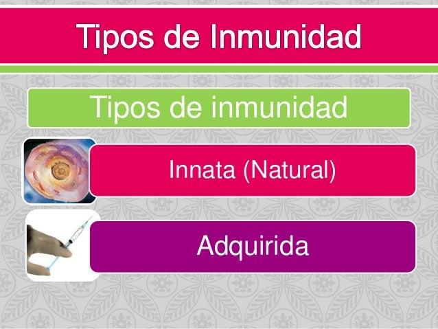 Tipos de inmunidad Innata (Natural) Adquirida