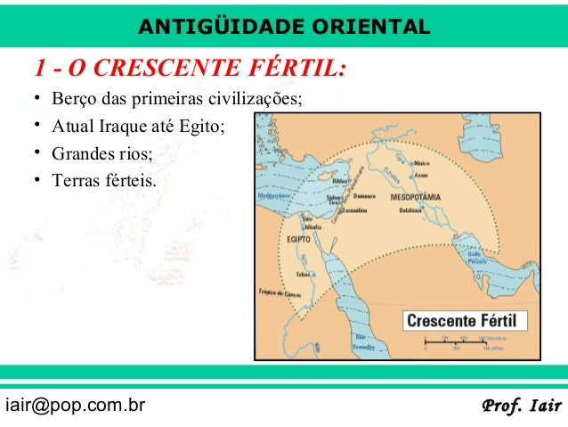 ANTIGÜIDADE ORIENTAL  1 - O CRESCENTE FÉRTIL: • • • •  Berço das primeiras civilizações; Atual Iraque até Egito; Grandes r...