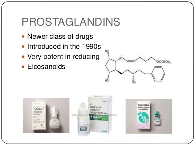 PROSTAGLANDINS  Newer class of drugs  Introduced in the 1990s  Very potent in reducing IOP  Eicosanoids