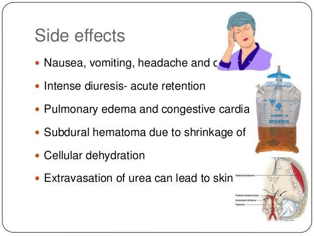Side effects  Nausea, vomiting, headache and diuresis  Intense diuresis- acute retention  Pulmonary edema and congestiv...
