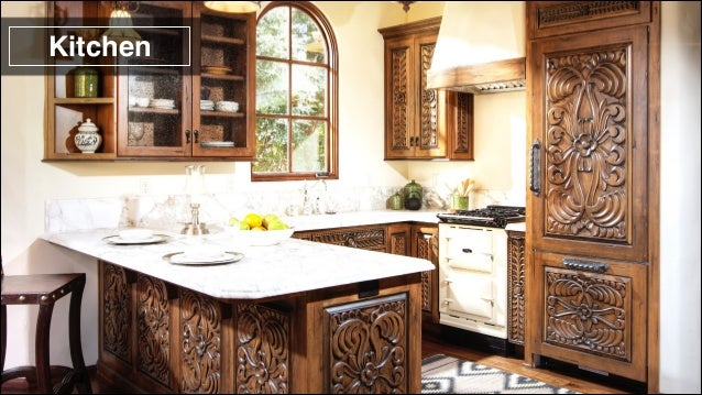 For antique spanish colonial carving designs antigua for Kitchen units spain