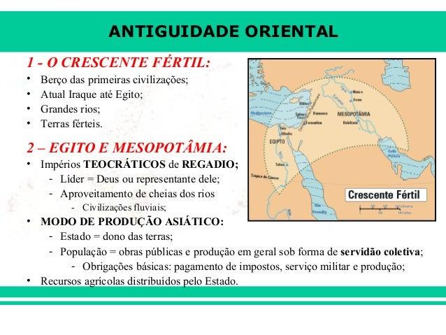 ANTIGUIDADE ORIENTAL1 - O CRESCENTE FÉRTIL:•   Berço das primeiras civilizações;•   Atual Iraque até Egito;•   Grandes rio...