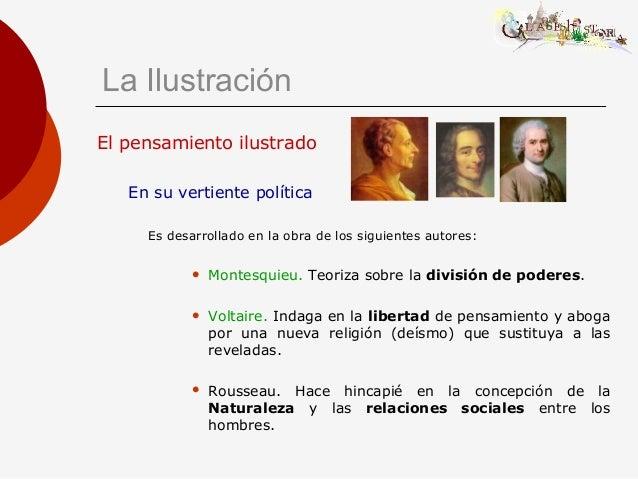 El pensamiento ilustrado En su vertiente política Es desarrollado en la obra de los siguientes autores:  Montesquieu. Teo...
