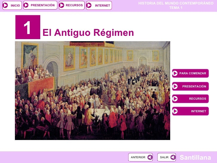 1 El Antiguo Régimen PARA COMENZAR PRESENTACIÓN RECURSOS INTERNET