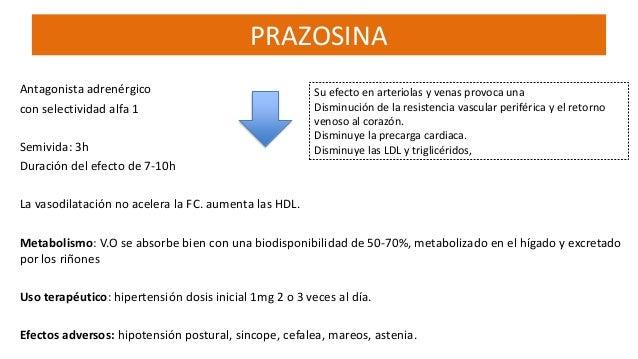 prazosin secundarios efectos
