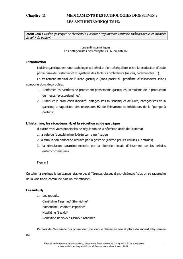 Chapitre 11                     MEDICAMENTS DES PATHOLOGIES DIGESTIVES :                                LES ANTIHISTAMINIQ...