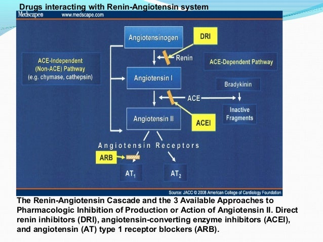 The Renin-Angiotensin Cascade and the 3 Available Approaches toPharmacologic Inhibition of Production or Action of Angiote...