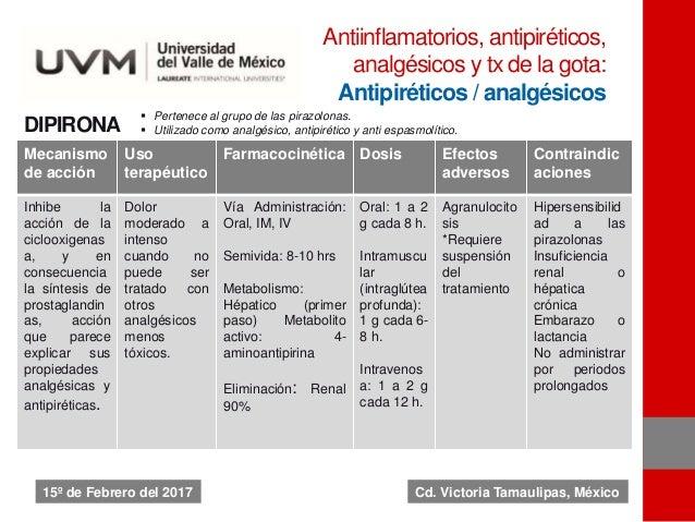 DIPIRONA Mecanismo de acción Uso terapéutico Farmacocinética Dosis Efectos adversos Contraindic aciones Inhibe la acción d...