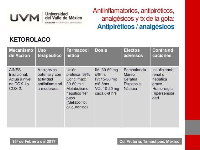 KETOROLACO Mecanismo de Acción Uso terapéutico Farmacoci nética Dosis Efectos adversos Contraindi caciones AINES tradicion...