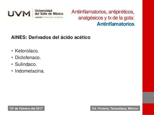 AINES: Derivados del ácido acético  Ketorolaco.  Diclofenaco.  Sulindaco.  Indometacina. Antiinflamatorios, antipiréti...