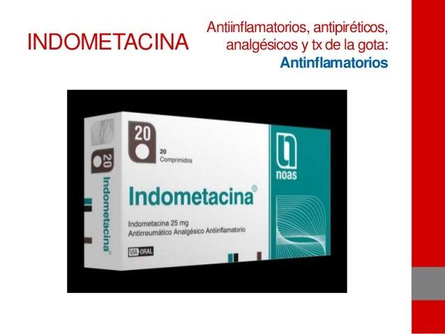 INDOMETACINA Antiinflamatorios, antipiréticos, analgésicos y tx de la gota: Antinflamatorios