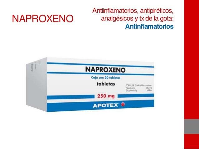 NAPROXENO Antiinflamatorios, antipiréticos, analgésicos y tx de la gota: Antinflamatorios