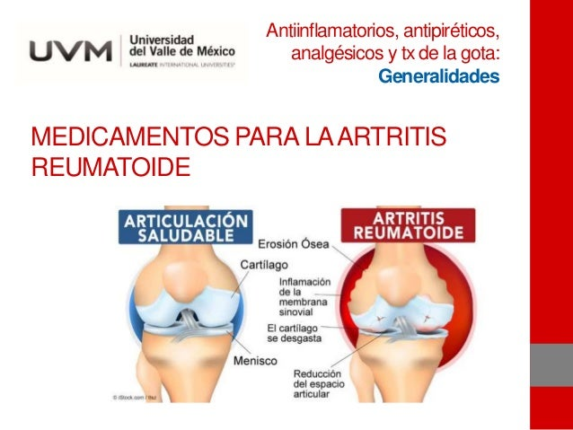 MEDICAMENTOS PARA LAARTRITIS REUMATOIDE Antiinflamatorios, antipiréticos, analgésicos y tx de la gota: Generalidades