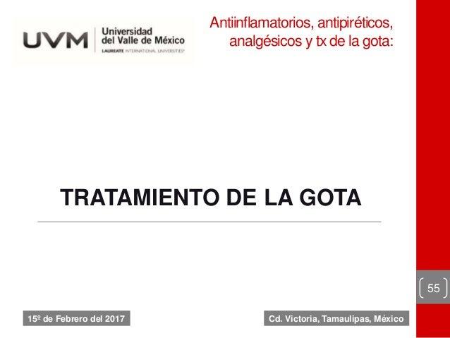 Antiinflamatorios, antipiréticos, analgésicos y tx de la gota: 55 15º de Febrero del 2017 TRATAMIENTO DE LA GOTA Cd. Victo...