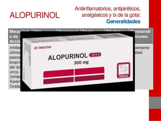ALOPURINOL Mecanism o de Acción Uso terapéutic o Farmacoci nética Dosis Efectos adversos Contraindi caciones Inhibe los úl...