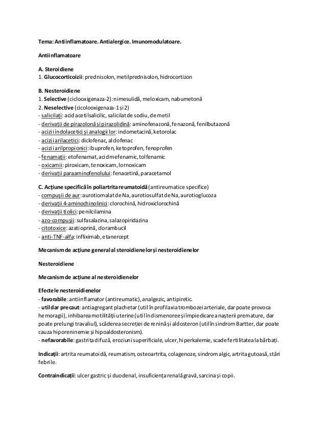 Tema: Antiinflamatoare.Antialergice.Imunomodulatoare. Antiinflamatoare A. Steroidiene 1. Glucocorticoizii:prednisolon,meti...