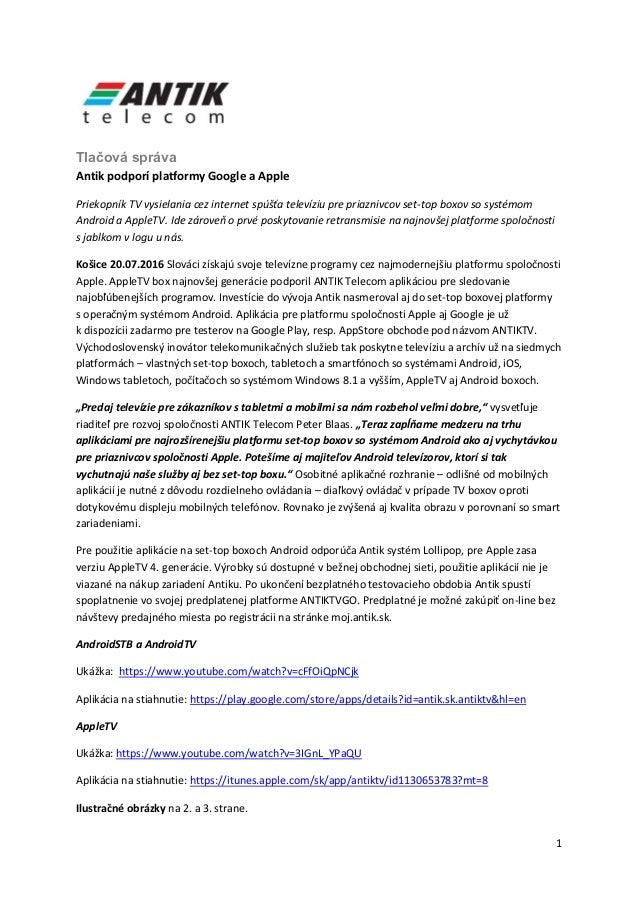 b544f703f 1 Tlačová správa Antik podporí platformy Google a Apple Priekopník TV  vysielania cez internet spúšťa televíziu 2