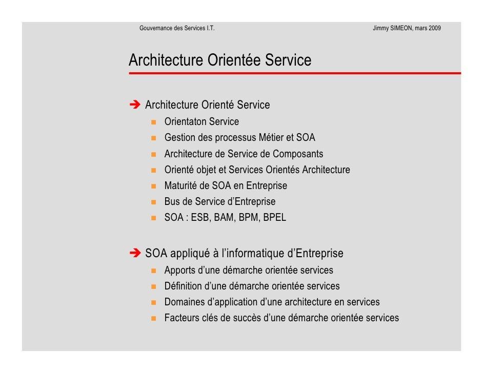 La gouvernance des services informatiques for Architecture orientee service