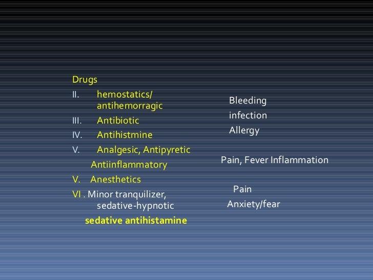 <ul><li>Drugs </li></ul><ul><li>hemostatics/ antihemorragic </li></ul><ul><li>Antibiotic </li></ul><ul><li>Antihistmine </...