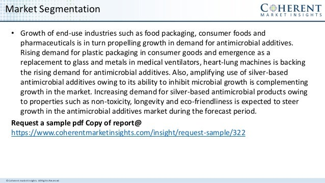 © Coherent market Insights. All Rights Reserved Market Segmentation • Growth of end-use industries such as food packaging,...