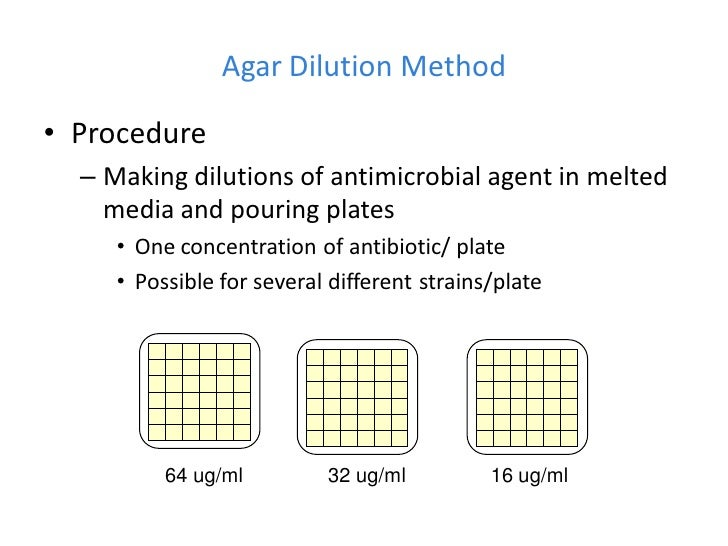 Agar Dilution Method• Procedure  – Making dilutions of antimicrobial agent in melted    media and pouring plates     • One...