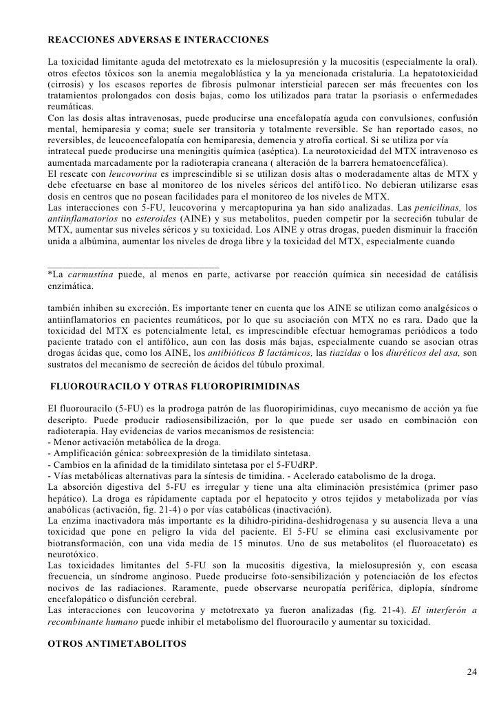REACCIONES ADVERSAS E INTERACCIONES  La toxicidad limitante aguda del metotrexato es la mielosupresión y la mucositis (esp...