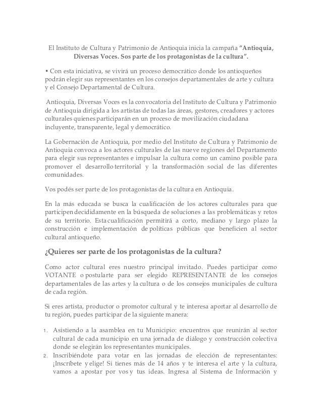 """El Instituto de Cultura y Patrimonio de Antioquia inicia la campaña """"Antioquia,               Diversas Voces. Sos parte de..."""