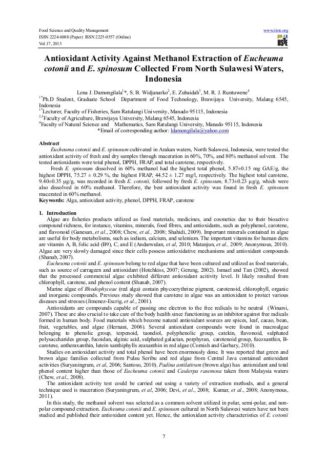 Food Science and Quality Management www.iiste.org ISSN 2224-6088 (Paper) ISSN 2225-0557 (Online) Vol.17, 2013 7 Antioxidan...