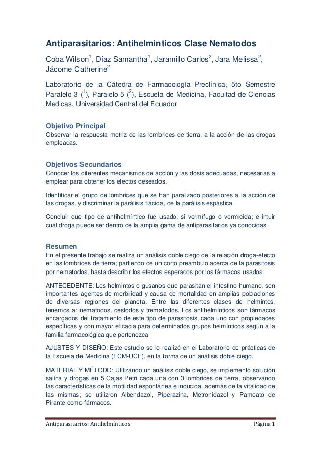 Antiparasitarios: Antihelmínticos Clase Nematodos Coba Wilson1, Díaz Samantha1, Jaramillo Carlos2, Jara Melissa2, Jácome C...