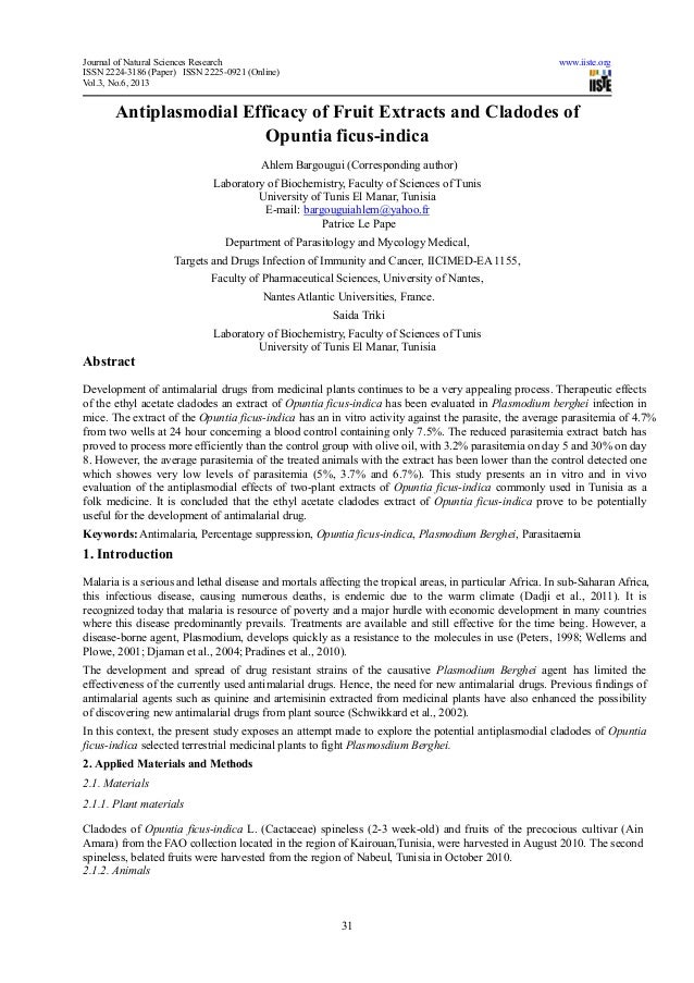 Journal of Natural Sciences Research www.iiste.orgISSN 2224-3186 (Paper) ISSN 2225-0921 (Online)Vol.3, No.6, 201331Antipla...