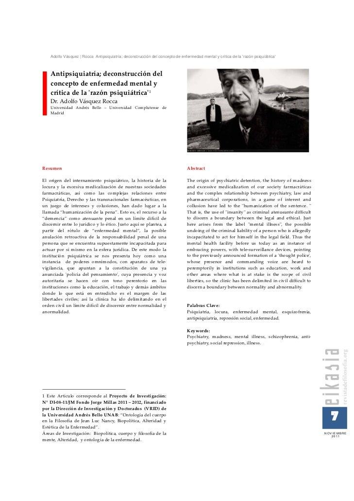 Adolfo Vásquez | Rocca Antipsiquiatría; deconstrucción del concepto de enfermedad mental y crítica de la razón psiquiátric...