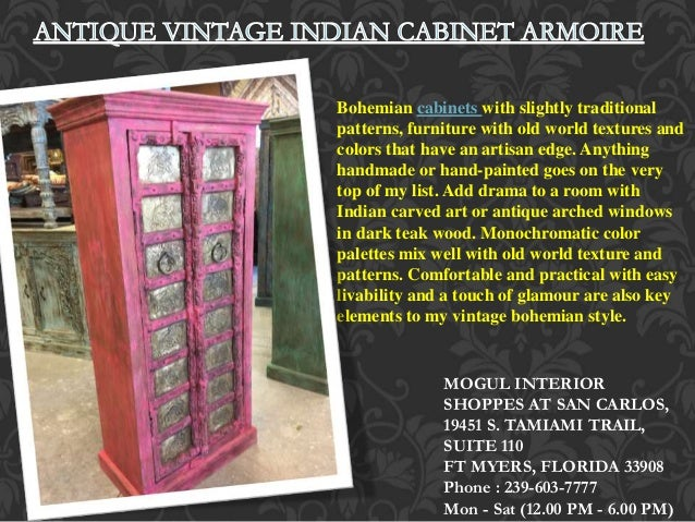 Bohemian Cabinets With Slightly Traditional Patterns, Furniture With Old  World Textures And Colors That Have MOGUL INTERIOR SHOPPES AT SAN CARLOS ...