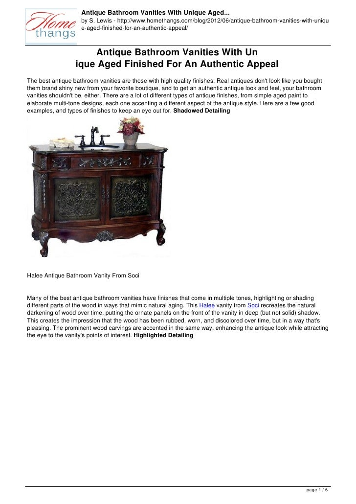 Antique Bathroom Vanities With Unique Aged...                    by S. Lewis - http://www.homethangs.com/blog/2012/06/anti...