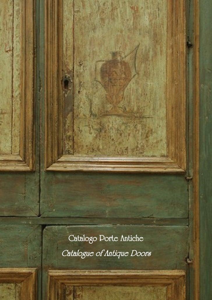 Catalogo Porte AnticheCatalogue of Antique Doors