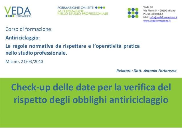 1 Dott.AntonioFortarezza Check‐updelledateperlaverificadel rispettodegliobblighiantiriciclaggio Corsodiforma...