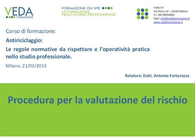 1 Dott.AntonioFortarezza Proceduraperlavalutazionedelrischio Corsodiformazione: Antiriciclaggio: Leregolenormat...