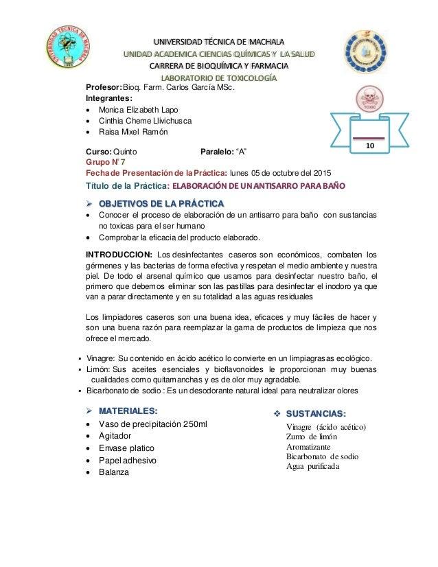 UNIVERSIDAD TÉCNICA DE MACHALA UNIDAD ACADEMICA CIENCIAS QUÍMICAS Y LA SALUD CARRERA DE BIOQUÍMICA Y FARMACIA LABORATORIO ...