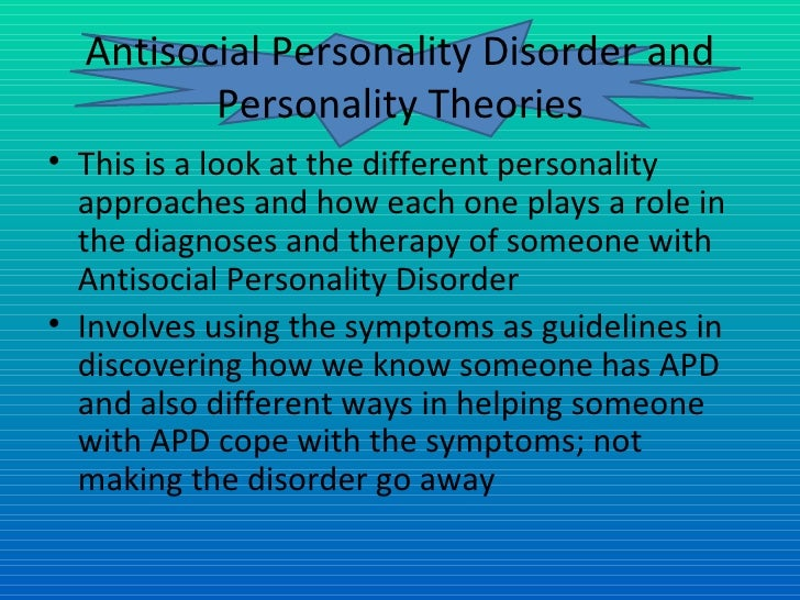 an analysis of the antisocial personality disorder and its variations and types Personality disorders and psychopathy personality disorder these are the main types borderline or antisocial personality disorder should have.
