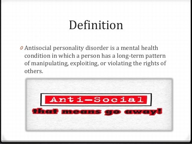 the causes and treatment of antisocial personality disorder aspd Antisocial personality disorder is a mental health condition in which a person has a long-term pattern of manipulating, exploiting, or violating the rights of others this behavior is often criminal causes cause of antisocial personality disorder is unknown genetic factors and environmental factors, such as child abuse, are.