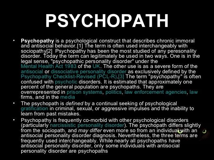 Psychopath symptom