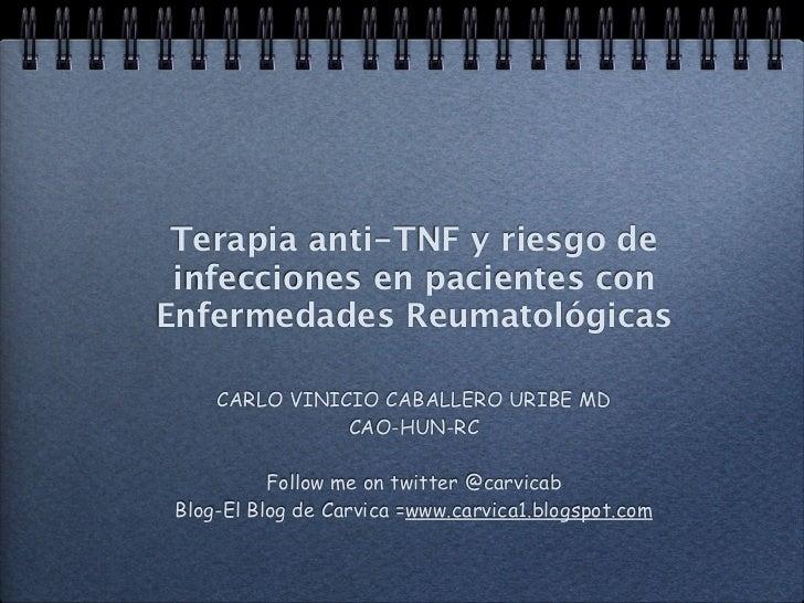 Terapia anti-TNF y riesgo de infecciones en pacientes conEnfermedades Reumatológicas     CARLO VINICIO CABALLERO URIBE MD ...
