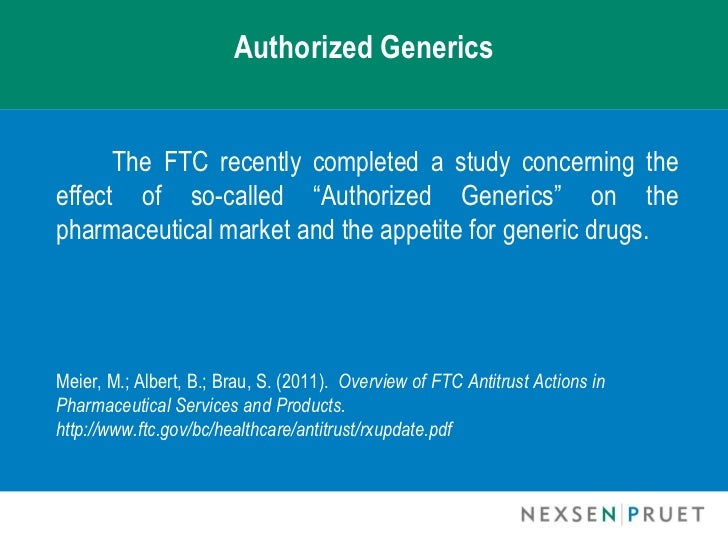 Authorized Generic Drugs - Federal Trade Commission